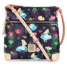 Alice in Wonderland Leather Crossbody Bag by Dooney & Bourke | Disney Store Celebrate the 65th Anniversary of Walt Disney's <i>Alice in Wonderland</i> carrying our leather Crossbody Bag by Dooney & Bourke. Bursting with color from an artful ''Tea Time'' pattern, it's a wondrous tote for daily dreaming.
