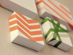 washi tape art - this would be a cute way to re-use plain white Christmas shirt boxes for gift wrapping, too.