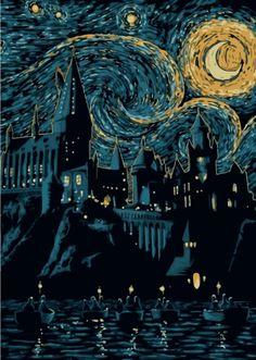 : Starry School by Denis Orio Ibañez Harry Potter Poster, Arte Do Harry Potter, Harry Potter Illustrations, Harry Potter Drawings, Harry Potter Tattoos, Hogwarts, Van Gogh Arte, Van Gogh Pinturas, Wallpaper Harry Potter