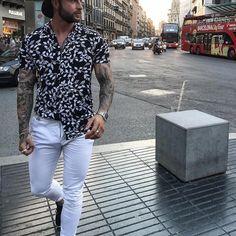 Men's Versatile Printed Lapel T-Shirt Black Size 6 Yatacity, Shirt Mens Running Tights, Cool Shirts For Men, Latest Mens Wear, Fancy Tops, Mens Activewear, Short Tops, Shirt Style, Mens Fashion, Men Formal