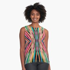 Funky Tank ~ Colorful Chiffon Top ~ Graphic Design Modern Blouse ~ Transparent Sleeves, Delicate Women's Shirt, Chic Top, Abstract Pattern Textile Fabrics, Back To Black, Chiffon Tops, Sleeveless Tops, Clothing Items, My Outfit, Printing On Fabric, Looks Great, Modern Design