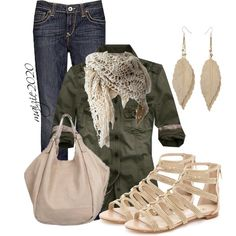 """""""Green and Cream"""" by maizie2020 on Polyvore - this would be cute with shorts too!"""