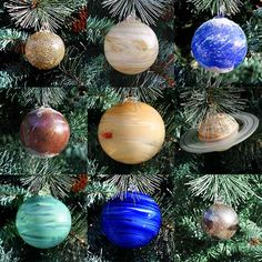 """Collect the whole solar system in Blown Glass Christmas ornaments!  We hand blow these ornaments ourselves. Ornament size is between 2"""" and 4"""". This set includes the Sun; unavailable separately.  It h"""