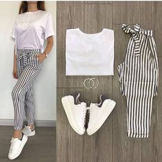 T-shirts and trousers for . Simple Outfits, Chic Outfits, Trendy Outfits, Girl Outfits, Summer Outfits, Fashion Outfits, Look Fashion, Teen Fashion, Korean Fashion