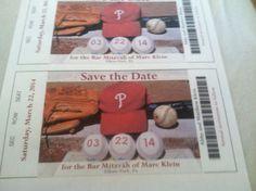 Save the Date baseball themed bar mitzvah