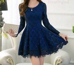 Vestido de encaje azul m