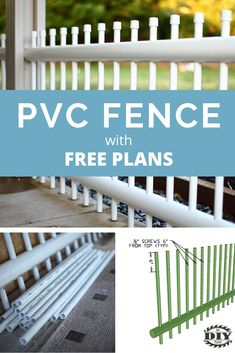 Learn how to build your own outdoor DIY PVC pipe patio railing. The railing could be used as a fence for pets or patio decor. Free plans with pictures. Pvc Pipe Crafts, Pvc Pipe Projects, Outdoor Projects, Lathe Projects, Cerca Diy, Pipe Fence, Patio Railing, Patio Fence, Railings