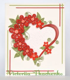Exquisite Valentine Quilling Card - Valentine's Day quilling Card - Big heart…