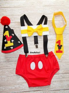 Mickey Mouse Birthday cake smash suspenders outfit by GinaBellas1