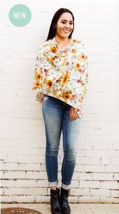 Yellow/Teal Floral Multi-Functional Nursing Poncho Cover