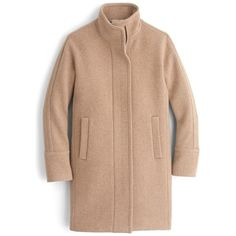 Women's J.crew Stadium Cloth Cocoon Coat (2008655 PYG) ❤ liked on Polyvore featuring outerwear, coats, petite coats, beige coat, j crew coats, cocoon coat and wool blend coat