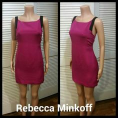 Rebecca Minkoff Silk Dress Magenta worth black silk dress fully lined.   Hidden back zipper.   100 % Silk. Rebecca Minkoff Dresses