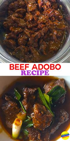 """Adobo in Spanish word """"adobar"""" means to marinade, sauce or seasoning before cooking. It is a Filipino national dish of Pork or Chicken and Beef stewed in vinegar. Top Recipes, Meat Recipes, Asian Recipes, Mexican Food Recipes, Dinner Recipes, Cooking Recipes, Ono Kine Recipes, Easy Filipino Recipes, Vegetarian Recipes"""
