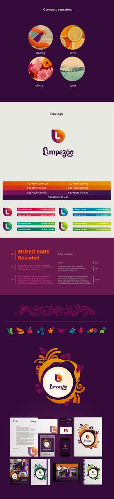 Great example of multi-color brand identity system.  Limpezão on Behance