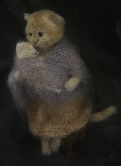 Felted cat holding kitten by Natasha Fadeeva - Newest Work