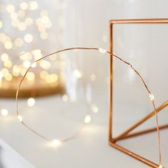 20 Micro Warm White LED Battery Fairy Lights on Copper Wire - bang on trend!
