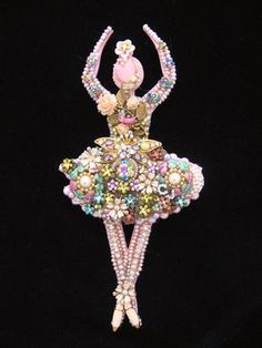 Giselle Ballerina Vintage Jewelry Wall Art. Jewelry Mosaic, repurposed jewelry, jewelry art by ArtCreationsByCJ. Please contact me of you would like a custom ballerina.