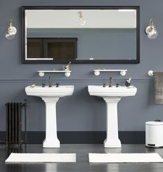 Boy bath color story- blue gray wall, black mirror, white hex tile floor, white subway bath/shower, charcoal grout, reclaimed wood cabinet, chrome hardware