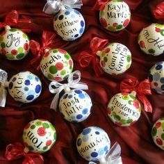 If youre looking for a unique and personal Christmas gift I promise these ornaments do not disappoint. 3.5 Ceramic ornaments are hand-painted with beautiful red and greens. Finished with a gorgeous bow on top, they look great hanging on the tree or on an ornament holder for display. You may personalize the ornament with a name(s), word, date, etc. Just about anything as long as it will fit! If you prefer to have a different color scheme for your holiday ornament just ask. ***Please remember…