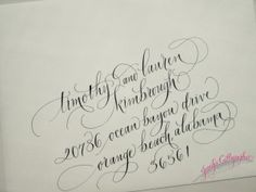 all lowercase calligraphy on envelope #jennifercalligrapher #dallasweddingcalligrapher #envelopes #weddingcalligraphy