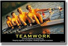 NEW Motivational TEAMWORK POSTER - Henry Ford Quote - Sports Rowing Crew Team