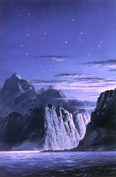 The Light of Valinor on the Western Sea - Ted Nasmith Jrr Tolkien, Tolkien Books, Fantasy Landscape, Fantasy Art, Fantasy Places, John Howe, Into The West, Under The Shadow, Dark Lord
