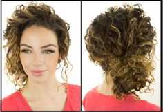 Naturally curly hair updo