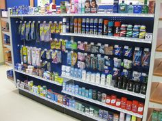 Pharmacy with blue pegboard!