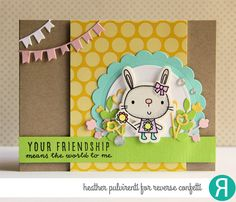 Card by Heather Pulvirenti. Reverse Confetti stamp sets: Hippity Hoppity and A Friend Like You. Confetti Cuts: Hippity Hoppity, Circles 'n Scallops, Flower Wrap and Gift Card Holder Tag. Quick Card Panels: Hoppin' Dots. Friendship card. Easter Card. Encouragement card. Thank you card. Bunnies.