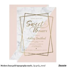 Shop Modern faux gold typography marble blush Sweet 16 Invitation created by girly_trend. Sweet 16 Birthday, 16th Birthday, Birthday Ideas, Card Birthday, Sweet 16 Themes, Sweet Sixteen Invitations, Sweet Sixteen Parties, Birthday Party Invitations, Invitations Kids