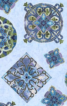Stone circles and squares in sky blue by Timeless Treasures