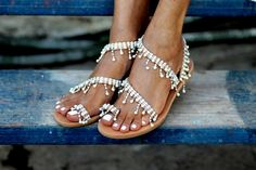 Bridal sandals decorated with pearls and by ElinaLinardaki