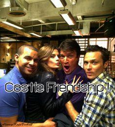 Castle Friendship: Jon Huertas, Stana Katic, Nathan Fillion, and Seamus Dever.