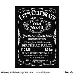 Adult birthday party invitations postcard aged to perfection by jack daniels whiskey birthday party invitation customizable filmwisefo Image collections