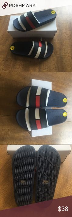 NEW! Tommy Hilfiger Slides Men Size 9! Brand new in box! Size 9. Classic slides and are very comfortable. They are Ernst Dark blue color Tommy Hilfiger Shoes Sandals & Flip-Flops