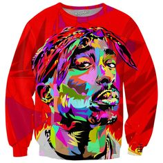 Tupac Crewneck Sweatshirt ($60) ❤ liked on Polyvore featuring tops, hoodies, sweatshirts, sweat shirts, sweatshirts hoodies, crew-neck sweatshirts, crew neck tops and crew neck sweat shirt