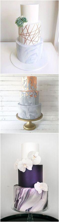 Wedding Cakes 23 Unique and Elegant Marble Wedding Cake Ideas 2017 Elegant Wedding Cakes, Elegant Cakes, Beautiful Wedding Cakes, Wedding Cake Designs, Wedding Cake Toppers, Beautiful Cakes, Trendy Wedding, Wedding Unique, Wedding Sweets