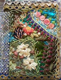 Crazy quilt bag with silk ribbon embroidery and swarovski crystals