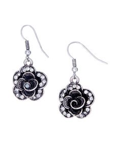 Another great find on #zulily! Silvertone Rose Drop Earrings by A'Dena Accents #zulilyfinds