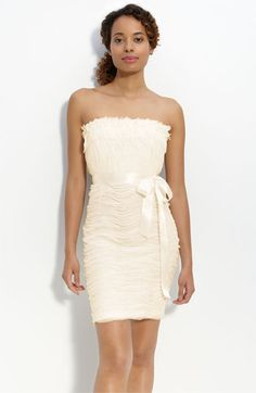 Donna Morgan Strapless Ruffled Tulle Dress ivory $88.90
