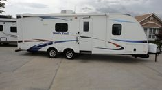 26ft - 2012 - North Trail by Heartland - $15,995.00 Here is a half ton towable family fun travel trailer that is sure to get you excited! In like new condition this 2012 North Trail 22FBS is just what you need to take the family on that much anticipated family vacation this summer! With Sleeping for up to six and a cold A/C unit everyone will truly enjoy the trip! A true dream to pull thanks to the wide trac suspension and sleek fiberglass exterior with an aerodynamic nose…