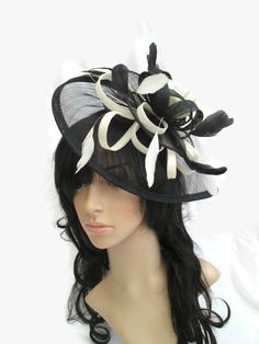 Stunning Black & Ivory Fascinator ..Sinamay loops and coque Feathers #bestofEtsy #fascinatorforraces
