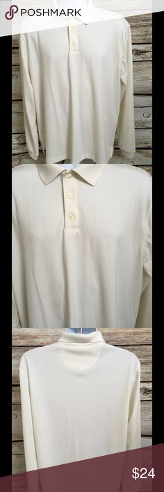 """Van Heusen Traveler Size Large Men's Polo Shirt Van Heusen Travel Men's Size Large Polo Shirt No Iron Cream Color 100% Polyester Perfect for travel, golf, or work Chest - 26"""" (doubled 52"""") Shoulders - 21"""" Length - 31"""" Van Heusen Shirts Polos"""