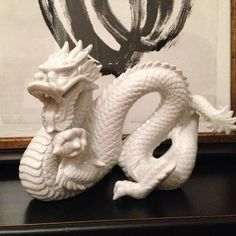 Vintage Large Chinoiserie White Porcelain Dragon by ArtandAntlers on Etsy.
