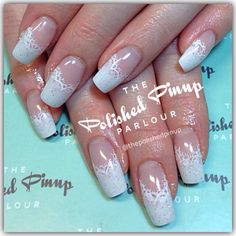 French lace wedding nails