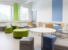 Ruukki School, Finland. Curtains designed by Eija Nevada Design. Interior Design by Tee-Design.