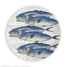 6 fish on a plate: Listing is for one 10 inch melamine plate made to order and made for a good time. AVAILABLE STYLES; Plate can have vintage dictionary page background -or- faint blue/off white background. Fish can face left -or- right giving variety to a set. Matching plates and/or platters are listed separately. Original and unique, exquisite art that you can eat off too. Plates are superior quality and also make distinctive wall or shelf art. Plates feature sweet and original designs…