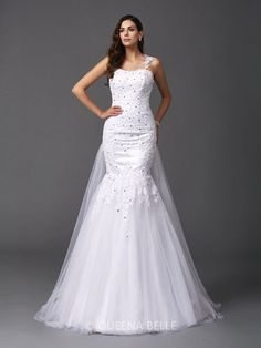 Trumpet/Mermaid Straps Sleeveless Net Sweep/Brush Train Wedding Dress....... I LOVE this.too bad i'm never getting married again lol