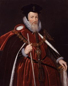 William Cecil, depicted in his robes of The Order of the Garter. Cecil was created Lord Burghley for his tireless service as Queen Elizabeth I's Secretary of State.