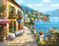 Overlook Cafe I Mural - Sung Kim| Murals Your Way I would love to have on my dinning room wall!